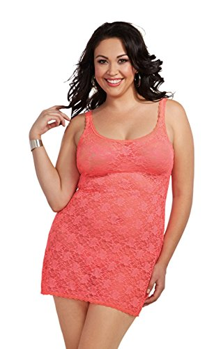 Dreamgirl Women's Plus-Size Stretch Lace Coral Chemise and G-String Set, Coral, 3X/4X by Dreamgirl