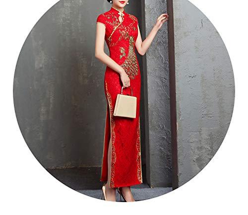 速記いろいろリーンチャイナドレスのトーストの長いの結婚式の赤いレース刺繍のドレス,レッド,XXXL