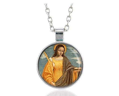St. Agatha Nursing Patron Catholic Necklace Silver Tone Pendant