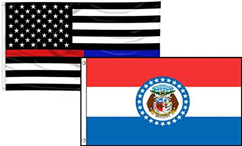 ALBATROS 3 ft x 5 ft USA Thin Red Blue Line Missouri State 2 Flag Set Combo for Home and Parades, Official Party, All Weather Indoors Outdoors