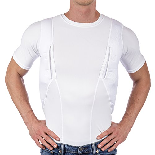 CCW Tactical Holster Shirt for Concealed Carry Compression Fit Clothing with Right and Left Hand Draw Handgun and Magazine Pockets, All Season Moisture Wicking, Mens, White, L