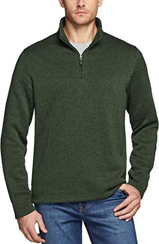 TSLA Men's Quarter Zip Thermal Pullover Shirts, Winter Fleece Lined Lightweight Running Sweatshirt