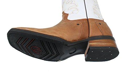 Dona Michi Uomo Stivali Da Cowboy Vera Pelle Di Vacchetta Pianura Punta Quadrata Rodeo Western Stivali Tan