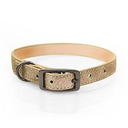 Bow & Arrow PU Leather Glitter Gold Dog Collar with Pewter Hardware, Dog Collar for Large Dogs