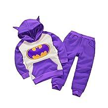 Astage Little Kids' 2pcs Long Sleeve Cartoon Batman Hoodies Sport Clothing