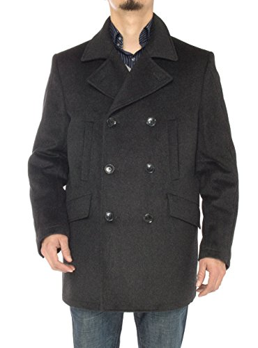 Double Breasted Worsted Wool Suit - Men's Stylish Wool Top Coat Modern Fit Double Breasted Pea Coat (50 US - 60 EU, Charcoal Gray)