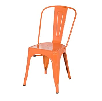 Orange Xavier Pauchard Tolix A Style Galvanized Chairs In Powder Coat  Finish Steel Metal Stackable Indoor