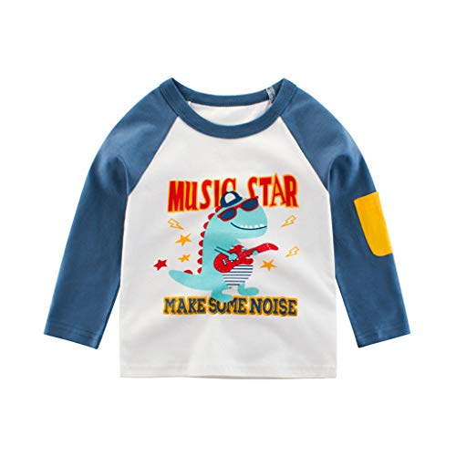 Baby Boys' T-Shirts,Crytech Toddler Kids Long Sleeve Organic Crew Neck Cartoon Car Dinosaur Bear Tiger Animal Pattern Graphic Tee Shirt Autumn Winter Tops Clothes 1T-7T (1-2 Years, Blue)