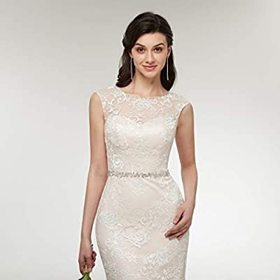 Clothfun Women's Illusion Long Sleeve V-Neck Lace Bridal Wedding Gowns at Women's Clothing store