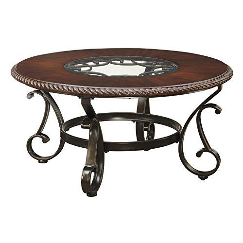 38' Cocktail Table (Astoria Grand Media Design Bovey Pedestal Coffee Table Made w/ Manufactured Wood, Tempered Glass, and Tubular Metal in Brown Cherry and Dark Bronze Finish 19'' H x 38'' W x 38'' D in.)