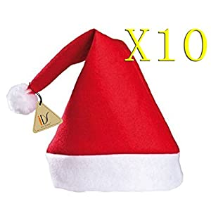 Amazon.com: Merry Christmas Hat Bulk Santa Hats Pack of 10: Toys ...