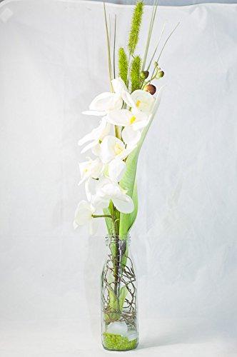Composition Florale Avec Phalaenopsis Blanc Dans Un Vase En Verre Déco De Table Avec Orchidées Artificielles Amazon Fr Handmade