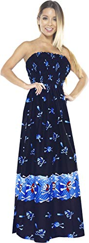 LA LEELA Women's Summer Beach Casual Dress Swimwear Cover Up US 0-14 Blue_Q636
