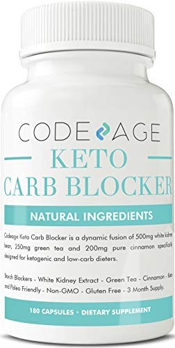 Codeage Keto Carb Blocker Capsules, Nutritional Ketosis with White Kidney Bean Extract, Green Tea Extract, Pure Cinnamon, 180 Capsules