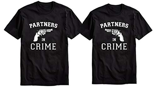 His & Hers Couples Matching Partners in Crime T Shirts Set for Girlfriend and Boyfriend or just Married Best Friends (Mens-L Womens-XL) Black