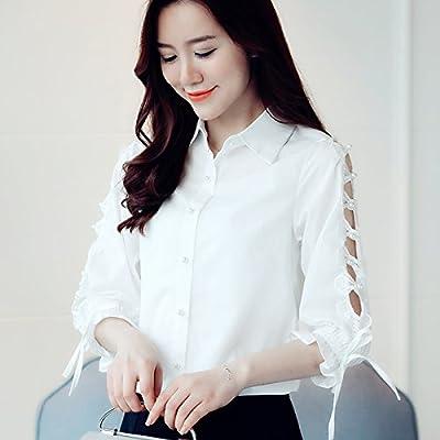 XXIN Snow Chemises Femme 7-Pocket/Dentelle Bow-Tie/Stripe T-Shirt/Été /Xl/ White