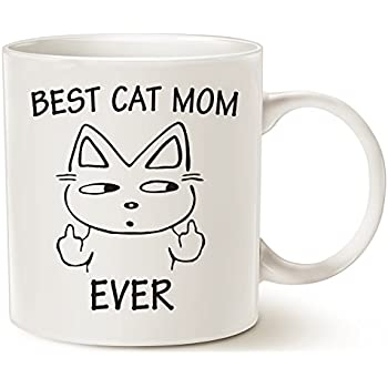 Funny Cat Mom Coffee Mug for Cat Lovers - Best Cat Mom Ever with Middle Finger - Best Cute Christmas Gifts for Mom Porcelain Cup White, 14 Oz by LaTazas