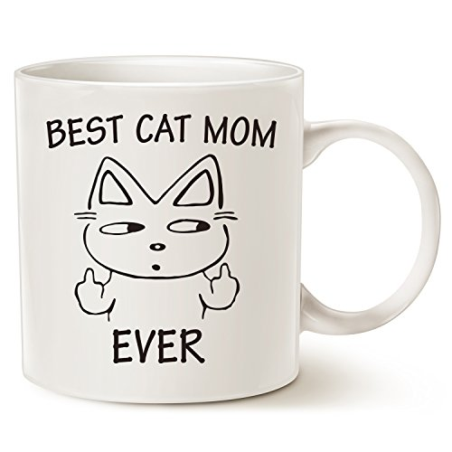 Funny Cat Mom Coffee Mug for Cat Lovers Christmas Gifts - Best Cat Mom Ever with Middle Finger - Best Cute Mothers Day Gifts for Mom Porcelain Cup White, 14 Oz