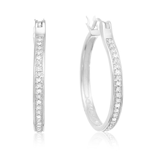 1/4ct Diamond Hoop Earrings Set in Sterling Silver 1 inch