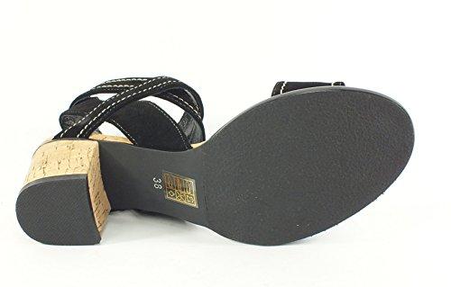 SPM 6906 Leder Sandalette Schwarz Schwarz