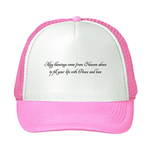 Speedy Pros May Blessings Come From Heaven Above Fill Your Life Adjustable Trucker Hat Cap Pink