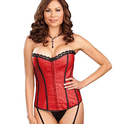 Dreamgirl Women's Ursula Reversible Corset and Thong Set, Red/Black,44 (Dream Corset)