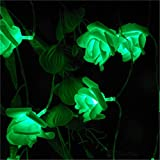 BGFHDSD LED Wedding Rose Love's Day Flower Light Strings Battery Garlands Festival Garden Decor. Bouquet Lights Lumiere Rosa Green