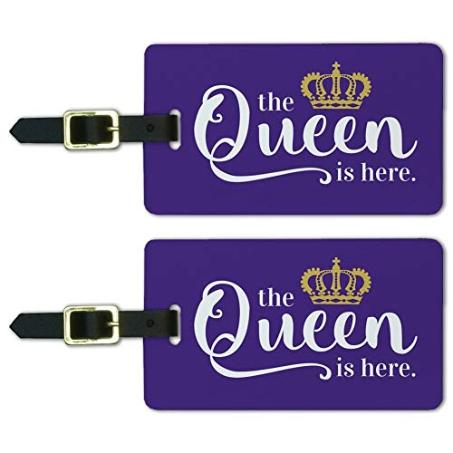(The Queen is Here Crown Royalty Luggage ID Tags Carry-On Cards - Set of 2)