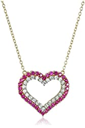 18k Yellow Gold over Sterling Silver Created Ruby and Created White Sapphire Heart Pendant Necklace, 18""
