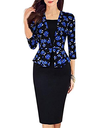 Zalezing Nice Women's Elegant 3/4 Sleeve Knee Length Orchid Wear to Work Pencil Dress (L) as pictureLarge (Best Stepper Machine Uk)