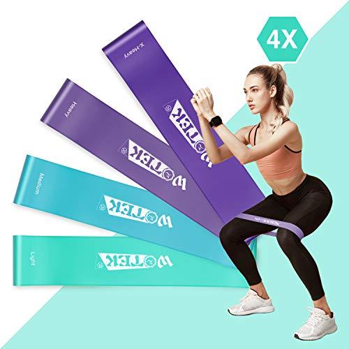 WOTEK Bandas Elasticas Fitness/Bandas de Resistencia, Set de 4 Colores Cintas Elasticas Musculacion y Fitness, Latex Natural Gomas elasticas musculacion con Guia de Ejercicios y Bolsa Almacenamiento