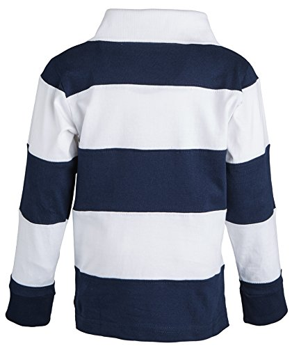 Sportoli174 little boys 100 cotton wide striped long for Long sleeve striped rugby shirt