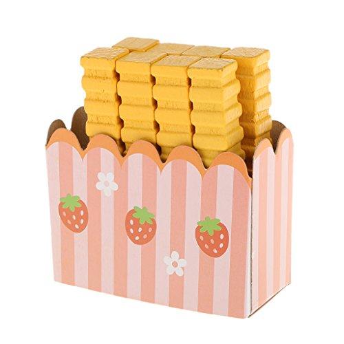 Gazechimp Kit Frites Bois Miniature Simulation Cuisine Aliments Jouet Semblant Jeux de Rôle-Play Cadeau