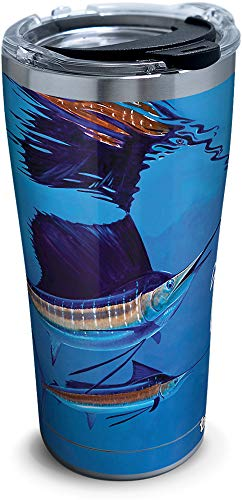Tervis 1315687 Guy Harvey - Reflections Sailfish Stainless Steel Insulated Tumbler with Lid, 20 oz, Silver