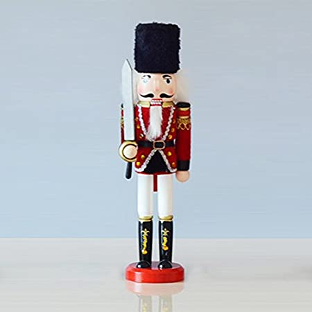 Classic Jianbing Nutcracker|Green Soldier Wooden Nutcracker|Great Nutcracker for Any Collection Classic Decorative Nutcracker |Perfect for Any Decor Theme Shelves and Tables 100% Wood 15 Tall Takefuns