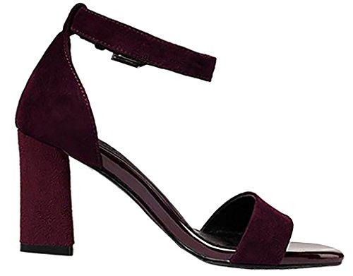 Calaier Mujer Capig Bloquear 6CM Sintético Hebilla Sandalias de vestir Zapatos Rojo