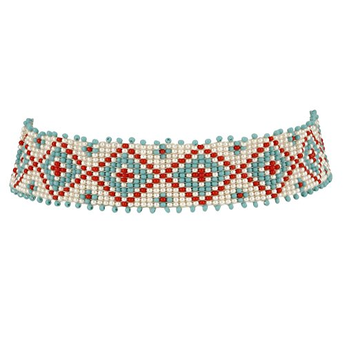 Handmade Beaded Choker - El Allure Seed Bead Native American Navajo Seed Beaded Choker Preciosa Jablonex Red, Off White And Turquoise Patterned Handmade Personalized Delicate Costume Fashion Unique Necklace for Women.