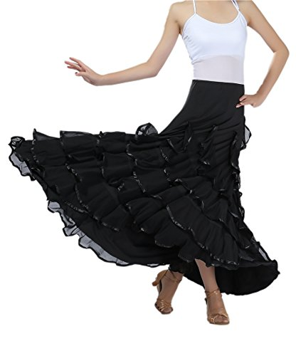 CISMARK Voguish Ballroom Dancing Latin Dance Party Skirt Black, One Size -