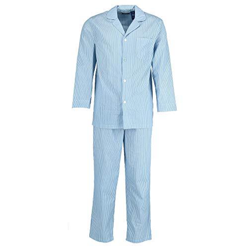 Fruit of the Loom Men's Long Sleeve Broadcloth Pajama Set, Royal Large ()
