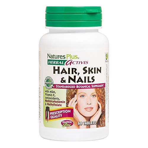 Natures Plus Hair, Skin & Nails - 60 Vegan Tablets - Multivitamin Supplement with Vitamin C, E, B12, Folate & Biotin, Promotes Longer, Stronger, Healthier Hair - Gluten Free - 30 Servings