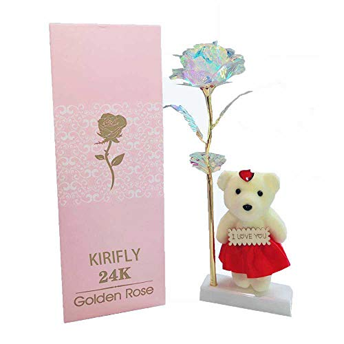Kirifly Artificial Rose Gifts Fake Flowers Roses Presents for Women Plastic Cellophane Flower Birthday Anniversary Engagement Colorful Gifts(Bear Stand)