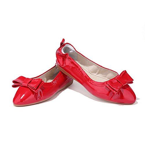 AllhqFashion Mujer Charol Pu Tacón Bajo Puntera En Punta Puntera Cerrada Lazo ZapatosDeTacón Rojo