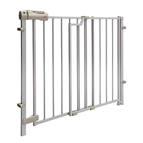 See Fence No Pet - Evenflo Easy Walk-Thru Top-of-Stairs Gate, Simple Assembly, No Tools Required, Easy-Glide Handle, 32-Inch Gate Height, Safety Lock Indicator, Great for Children and Pets, Neutral Finish