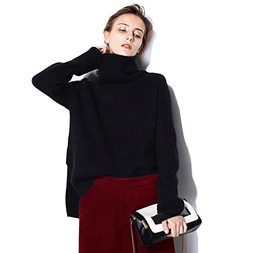 Cashmere Sweater Women Turtleneck Casual Loose Long Sleeve Ribbed Elbow Asymmetrical Hem (S,Black) ()