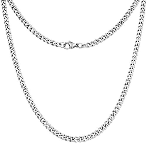 (Silvadore 4mm Curb Mens Necklace - Silver Chain Cuban Stainless Steel Jewelry - Neck Link Chains for Men Man Women Boys Male Military - 14 16 18 20 22 24 26 36 inch (24, Velvet Pouch))
