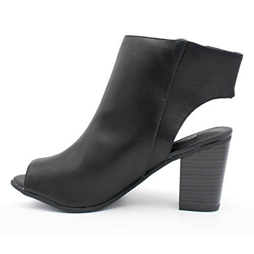 Breckelles Womens Öppen Rygg Asymmetrisk Dragkedja Peep Toe Bootie Svarta Ts