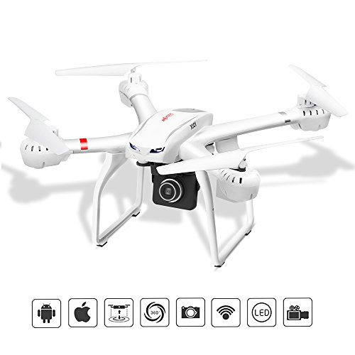 RC Quadcopter Drone with FPV Camera and Live Video – Quadcopter with Camera – X101 Quadcopters – Headless Mode 3D Flips & Rolls- 6-Axis Gyro A Key Return RTF Helicopter, White
