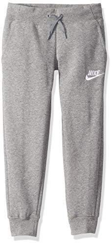 Nike Girl's NSW Pe Pant, Carbon Heather/White, Medium (Girls Nike Sweatpants)