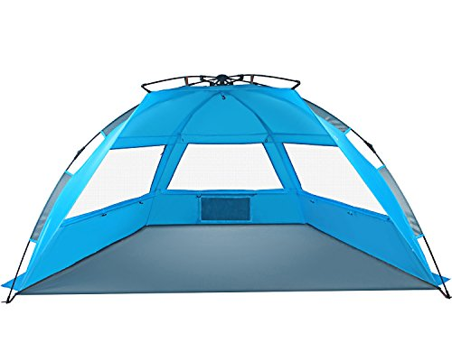 (TAGVO Pop Up Beach Tent Sun Shelter Easy Set Up Tear Down, Portable Instant Beach Baby Canopy Lightweight 4.7 Pounds, UPF 50 Plus Sun Protection 3 Mesh Screen Windows Good Ventilation Sports Sun Shade)
