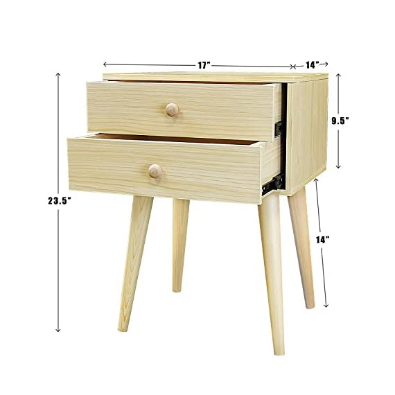 DL furniture - Side End Table Nightstand Bedroom Livingroom Table Cabinet with 2 Drawers | Natural Wood - CONSTRUCT - 4 Thin Long Legs - but can hold heavy items such as laptop, table lamp, and bedroom decor | protect your floor from stretching - extra large and smooth top surface allows placing more items and perfect to touch MATERIAL - MDF Wood - Natural | No Scent | Non-toxic | Polished Surface FUNCTION - Easy Assemble - 2 Wood Drawer with Wood handle - easy to storage personal accessories - flat wood top perfect for placing plants | table lamp | book | makeup accessories - living-room-furniture, living-room, end-tables - 41cjfw9JhdL. SS570  -